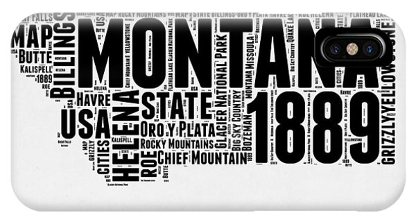 Montana State iPhone Case - Montana Word Cloud 2 by Naxart Studio
