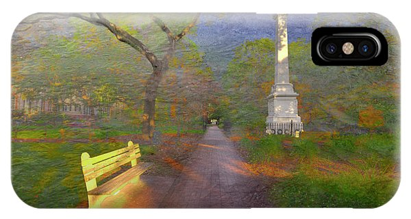 Park Bench iPhone Case - Monterey Square  by Larry Braun