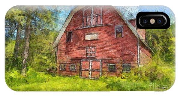 New England Barn iPhone Case - Montford Farm Red Barn Pencil by Edward Fielding