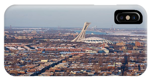 Quebec City iPhone Case - Montreal Cityscape With Olympic Stadium by Jane Rix