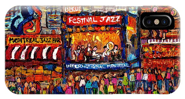Montreal International Jazz Festival Painting Live Jazz Band Outdoor Music Concert Scene C Spandau  IPhone Case