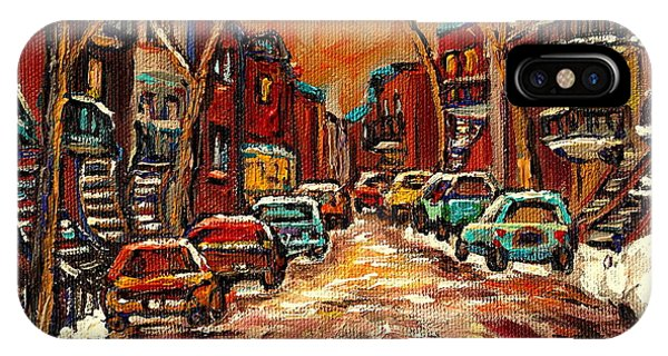 China Town iPhone Case - Montreal Streets In Winter by Carole Spandau