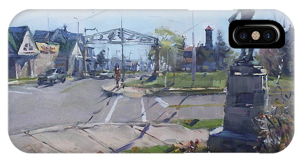 Monument iPhone Case - Monument At Pine Ave And Portage Rd by Ylli Haruni