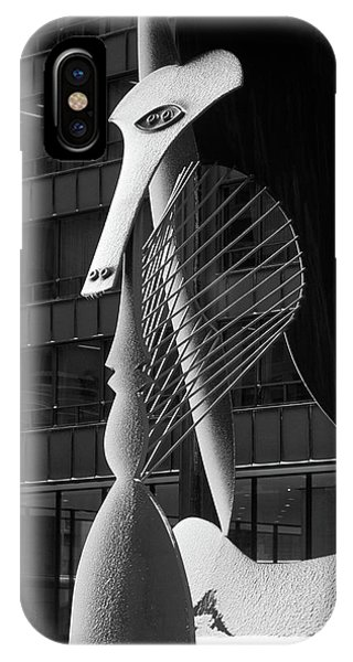 Monumental Sculpture In Front Of A Building, Chicago Picasso, Daley Plaza, Chicago, Illinois, Usa IPhone Case