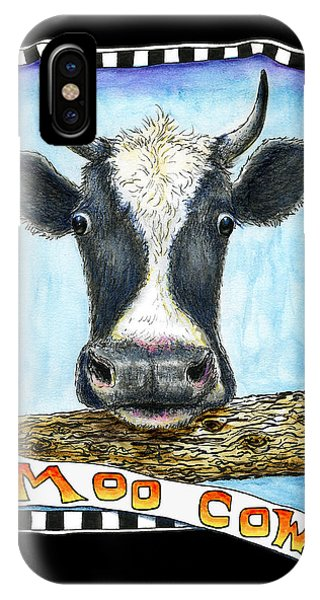IPhone Case featuring the drawing Moo Cow In Black by Retta Stephenson