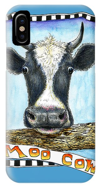 IPhone Case featuring the drawing Moo Cow In Blue by Retta Stephenson