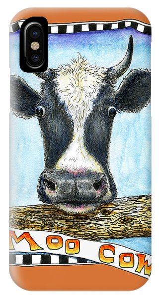 IPhone Case featuring the painting Moo Cow In Orange by Retta Stephenson