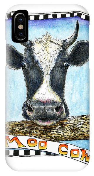 IPhone Case featuring the painting Moo Cow by Retta Stephenson