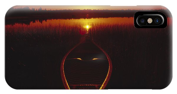 Moody Sunrise Lake Scene With Cedar Canoe IPhone Case