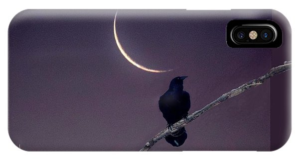 Raven Under Crescent Moon IPhone Case