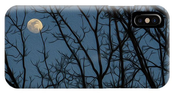 Moon At Dusk Through Trees - Impressionism IPhone Case