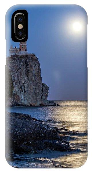 Split Rock iPhone Case - Moon Light On Split Rock by Paul Freidlund
