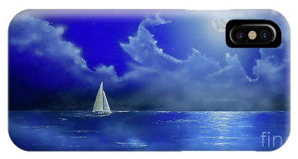 IPhone Case featuring the painting Moon Light Sail by Mary Scott
