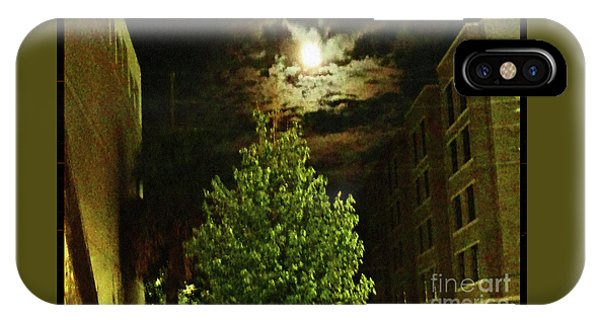 IPhone Case featuring the photograph Moon On Fire Over Downtown Savannah by Aberjhani