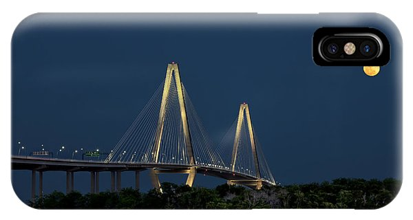 IPhone Case featuring the photograph Moon Over Arthur Ravenel Jr. Bridge by Ken Barrett