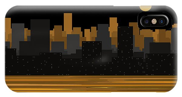 Moon Over City Skyline IPhone Case