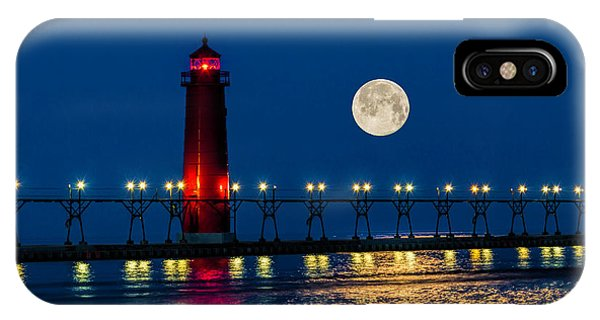 Moon Over Grand Haven IPhone Case