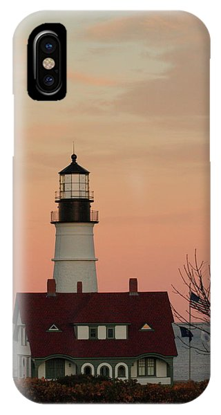 Moon Over Portland Head Lighthouse IPhone Case