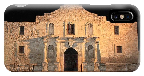 The Alamo iPhone Case - Moon Over The Alamo by Carol Groenen