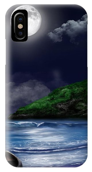 IPhone Case featuring the digital art Moon Over The Cove by Mark Taylor