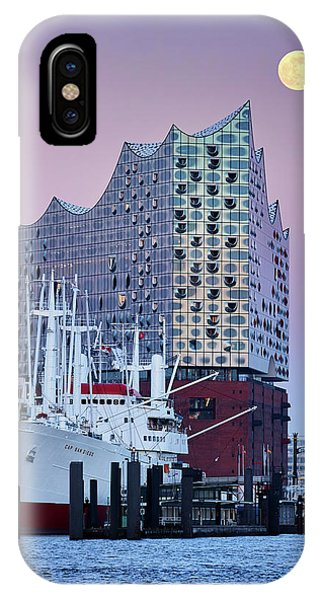 Moon Over The Elbe Philharmonic Hall IPhone Case