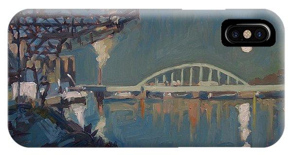 iPhone Case - Moon Over The Railway Bridge Maastricht by Nop Briex