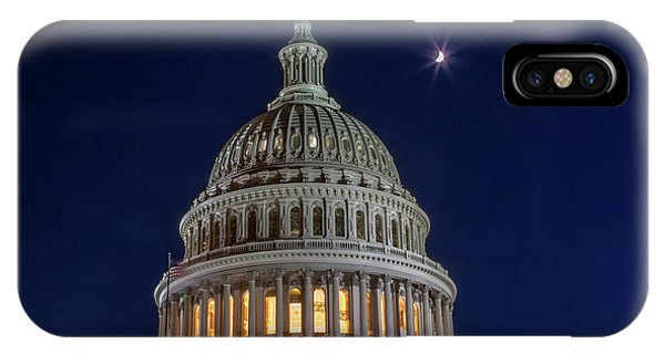 Moon Over The Washington Capitol Building IPhone Case