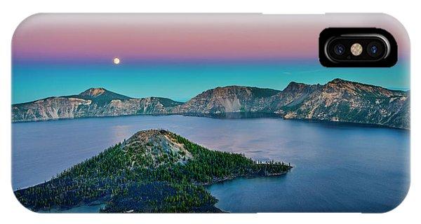 Moon Over Wizard Island IPhone Case