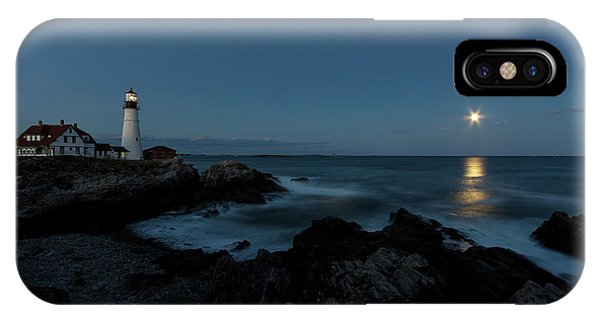 Moon Rise At Portland Headlight IPhone Case