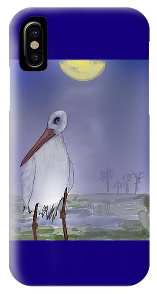 IPhone Case featuring the digital art Moon Rise Becomes A Stork by Teresa Epps