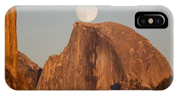 Half Moon iPhone Case - Moon Rise Over Half Dome by Jeff Sullivan