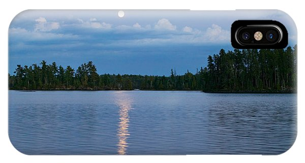 Moon Rising Over Lake One, Water IPhone Case