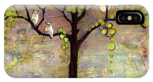 Couple iPhone Case - Moon River Tree Owls Art by Blenda Studio