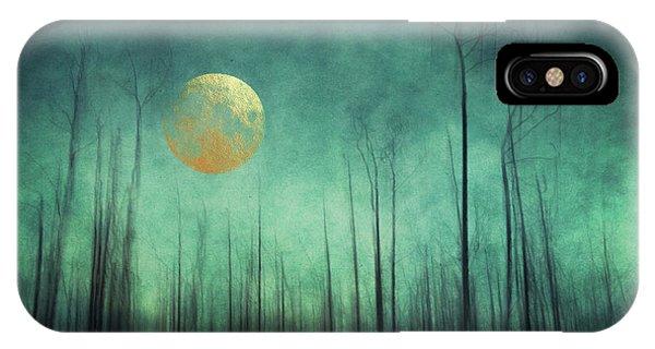 Teal iPhone Case - Moon Silence by Priska Wettstein