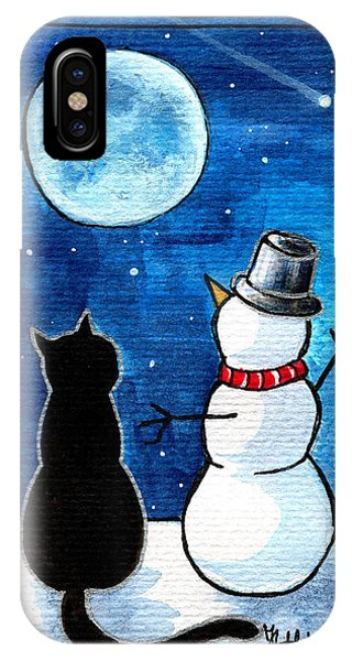 Moon Watching With Snowman - Christmas Cat IPhone Case