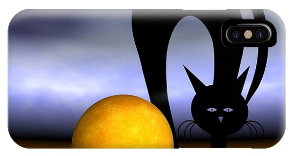Mooncat's Play With The Fullmoon IPhone Case