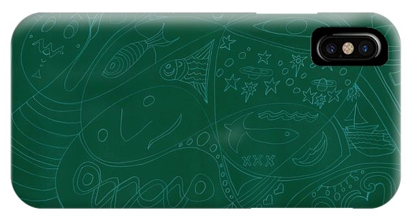 Moonfish Drawing Negative Green Chalk IPhone Case