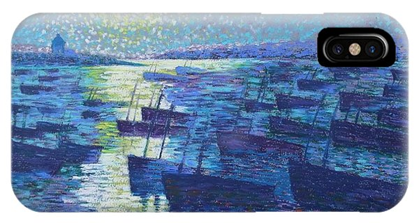 Moonlight And Fishing Boat IPhone Case