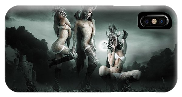 Carcass iPhone Case - Moonlight Bathing Valkyries by George Grie