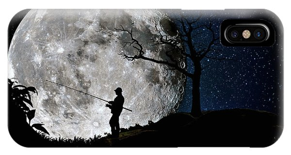 Moonlight Fishing Under The Supermoon At Night IPhone Case