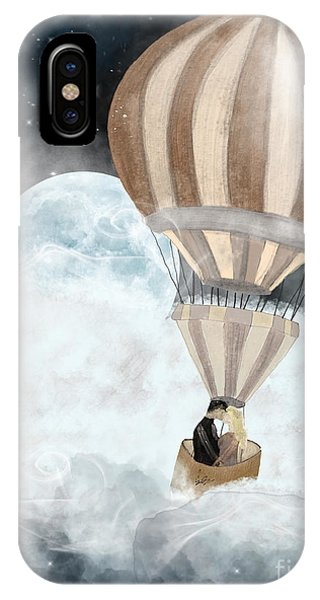 Hot Air Balloons iPhone Case - Moonlight Kisses by Bri Buckley