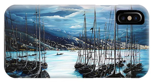 Moonlight iPhone Case - Moonlight Over Port Of Spain by Karin  Dawn Kelshall- Best