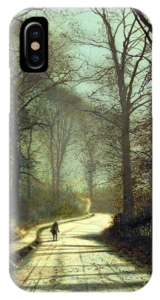 Street Light iPhone Case - Moonlight Walk by John Atkinson Grimshaw