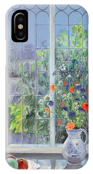 Window Pane iPhone Case - Moonlit Flowers by Timothy Easton