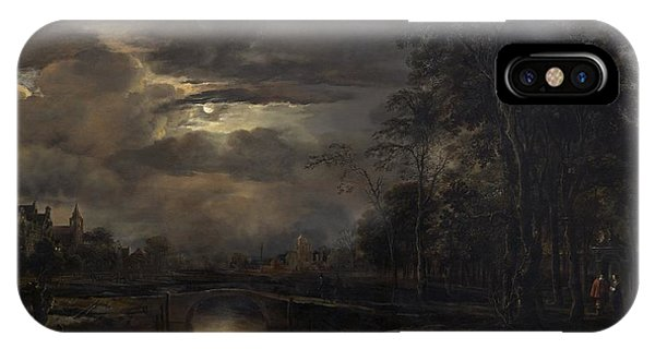 iPhone Case - Moonlit Landscape With Bridge by Aert Van Der Neer