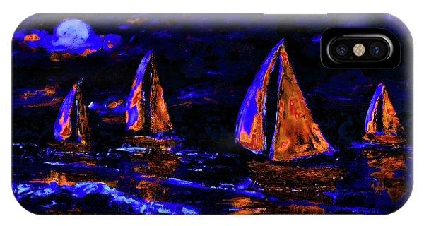 Moonlit Sailing In Neon IPhone Case