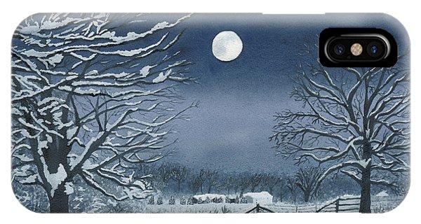 Moonlit Snowy Scene On The Farm IPhone Case