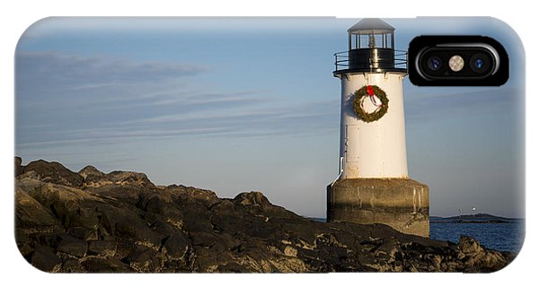 Moonrise Over Fort Pickering Lighthouse Salem Ma Winter Island Wreath IPhone Case
