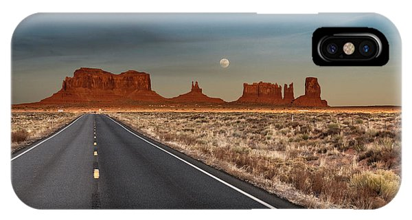 IPhone Case featuring the photograph Moonrise Over Monument Valley by Lou Novick