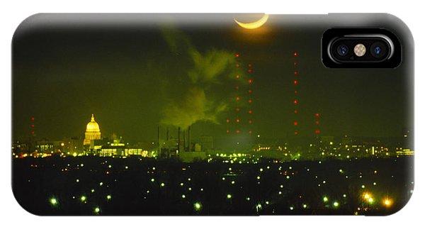 Moonset Madison - Wisconsin IPhone Case